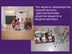 Это модель производства серной кислоты ,кристаллические решётки веществ и мод