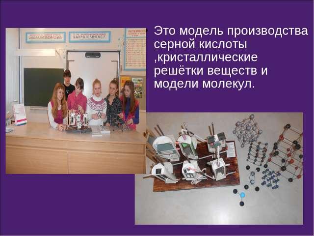 Это модель производства серной кислоты ,кристаллические решётки веществ и мод...