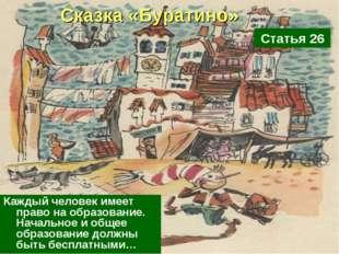 Сказка «Буратино» Каждый человек имеет право на образование. Начальное и обще