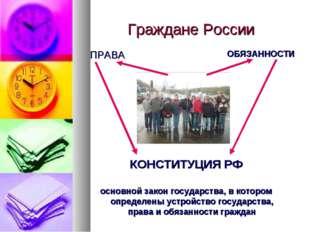 Граждане России ПРАВА ОБЯЗАННОСТИ КОНСТИТУЦИЯ РФ основной закон государства,