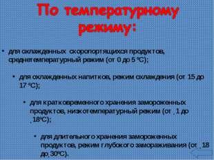 для охлажденных скоропортящихся продуктов, среднетемпературный режим (от 0 до