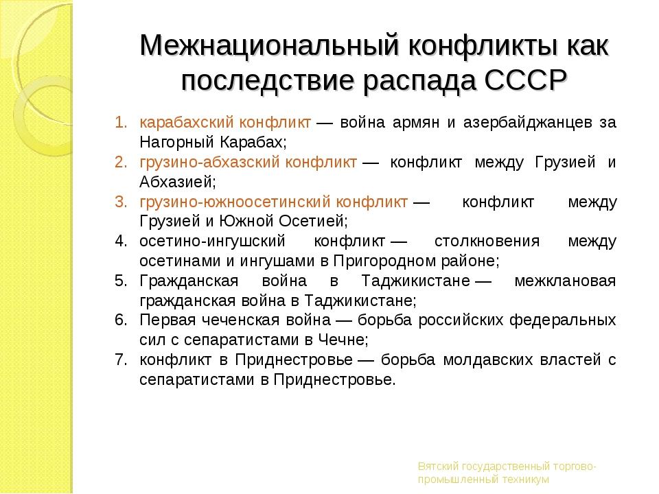 Межнациональный конфликты как последствие распада СССР Вятский государственны...