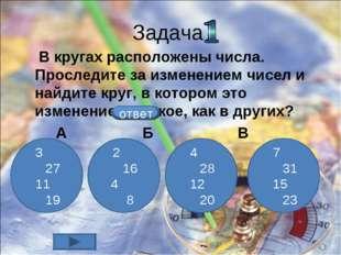 Задача В кругах расположены числа. Проследите за изменением чисел и найдите к