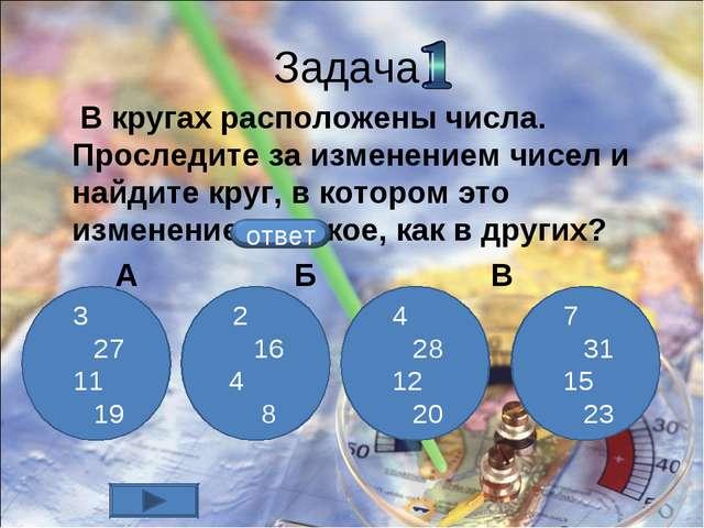 Задача В кругах расположены числа. Проследите за изменением чисел и найдите к...