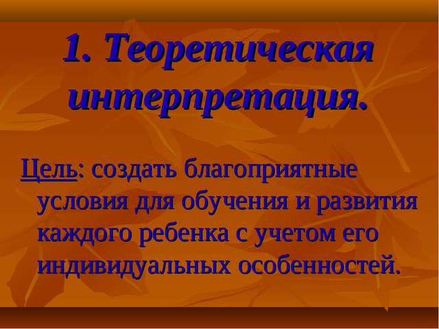 1. Теоретическая интерпретация. Цель: создать благоприятные условия для обуче...
