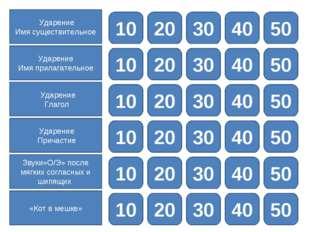 10 20 30 40 50 Ударение Имя существительное 10 20 30 40 50 Ударение Имя прила