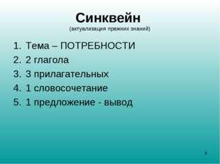 Синквейн (актуализация прежних знаний) Тема – ПОТРЕБНОСТИ 2 глагола 3 прилага