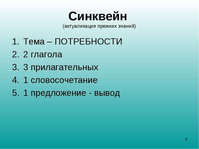 Синквейн (актуализация прежних знаний) Тема – ПОТРЕБНОСТИ 2 глагола 3 прилага...