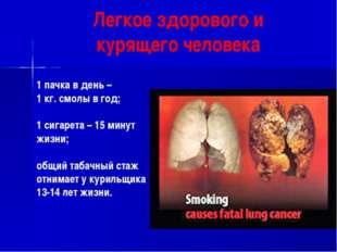 Легкое здорового и курящего человека 1 пачка в день – 1 кг. смолы в год; 1 си