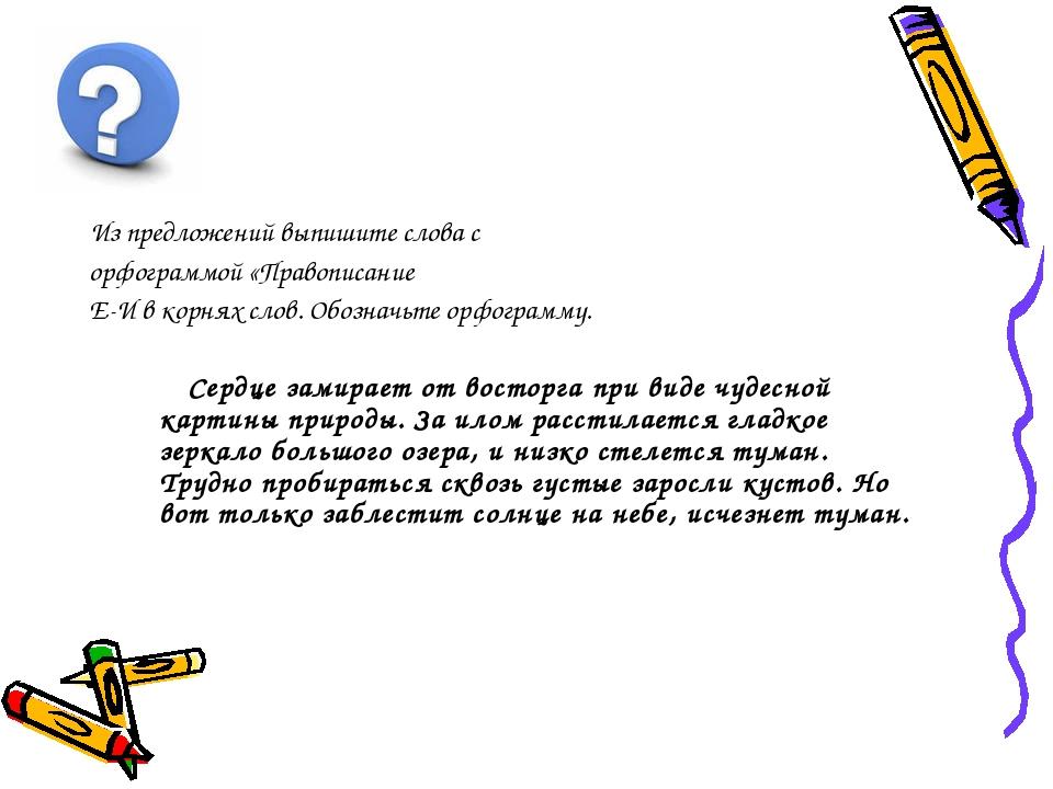 Из предложений выпишите слова с орфограммой «Правописание Е-И в корнях слов....