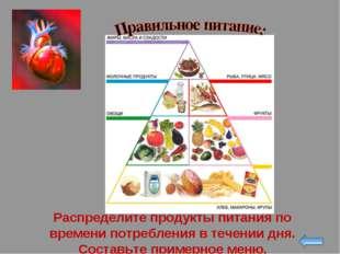 Распределите продукты питания по времени потребления в течении дня. Составьте