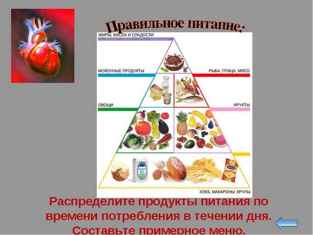 Распределите продукты питания по времени потребления в течении дня. Составьте...