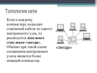 Топология сети Если к каждому компьютеру подходит отдельный кабель из одного