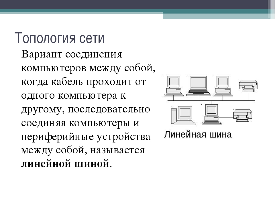 Топология сети Вариант соединения компьютеров между собой, когда кабель прохо...