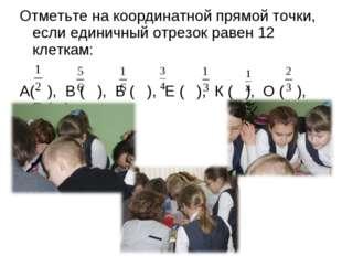 Отметьте на координатной прямой точки, если единичный отрезок равен 12 клетка