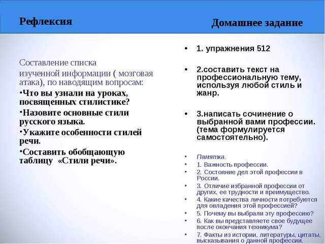 Рефлексия Составление списка изученной информации ( мозговая атака), по навод...