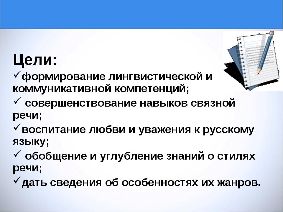 Тема урока:«Стили речи и их жанры» Цели: формирование лингвистической и комму...