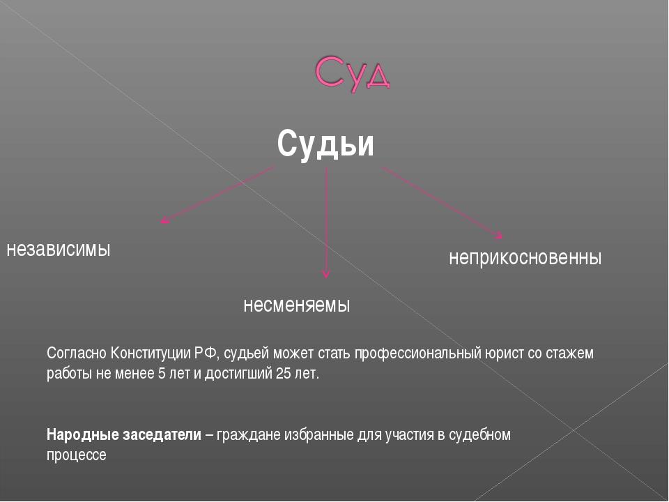 Судьи независимы несменяемы неприкосновенны Согласно Конституции РФ, судьей м...