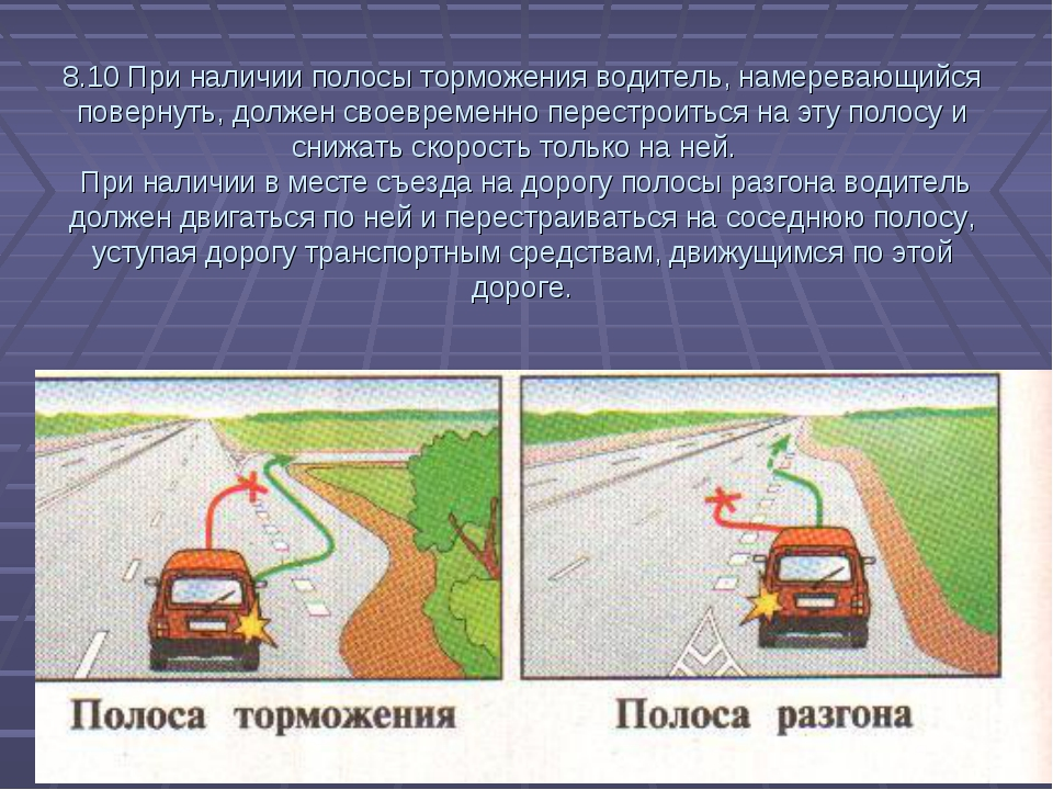 8.10 При наличии полосы торможения водитель, намеревающийся повернуть, должен...