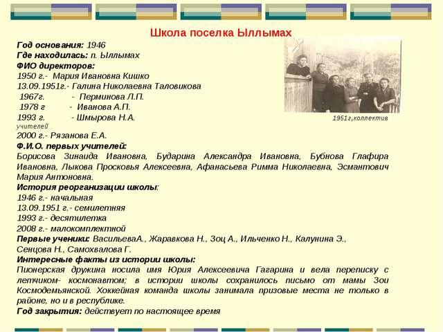 Школа поселка Ыллымах Год основания: 1946 Где находилась: п. Ыллымах ФИО дире...