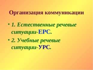 Организация коммуникации 1. Естественные речевые ситуации-ЕРС. 2. Учебные реч