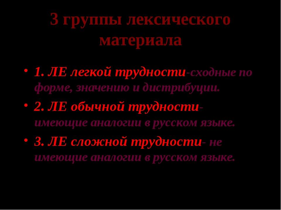 3 группы лексического материала 1. ЛЕ легкой трудности-сходные по форме, знач...