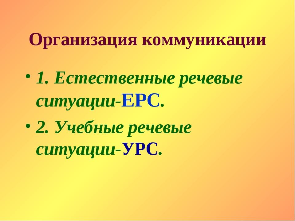 Организация коммуникации 1. Естественные речевые ситуации-ЕРС. 2. Учебные реч...