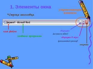 1. Элементы окна свернуть свернуть в окно закрыть (на панель задач) (уменьшае