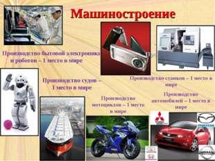 Машиностроение Производство бытовой электроники и роботов – 1 место в мире –