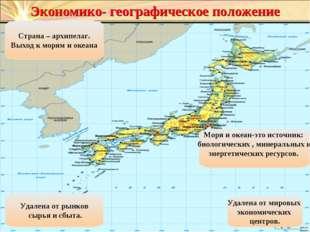 Экономико- географическое положение Страна – архипелаг. Выход к морям и океан