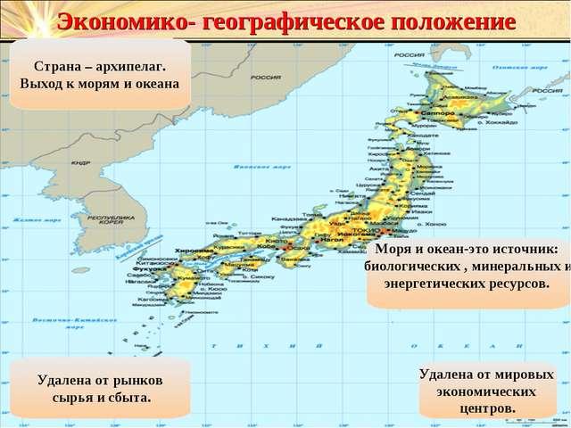Экономико- географическое положение Страна – архипелаг. Выход к морям и океан...