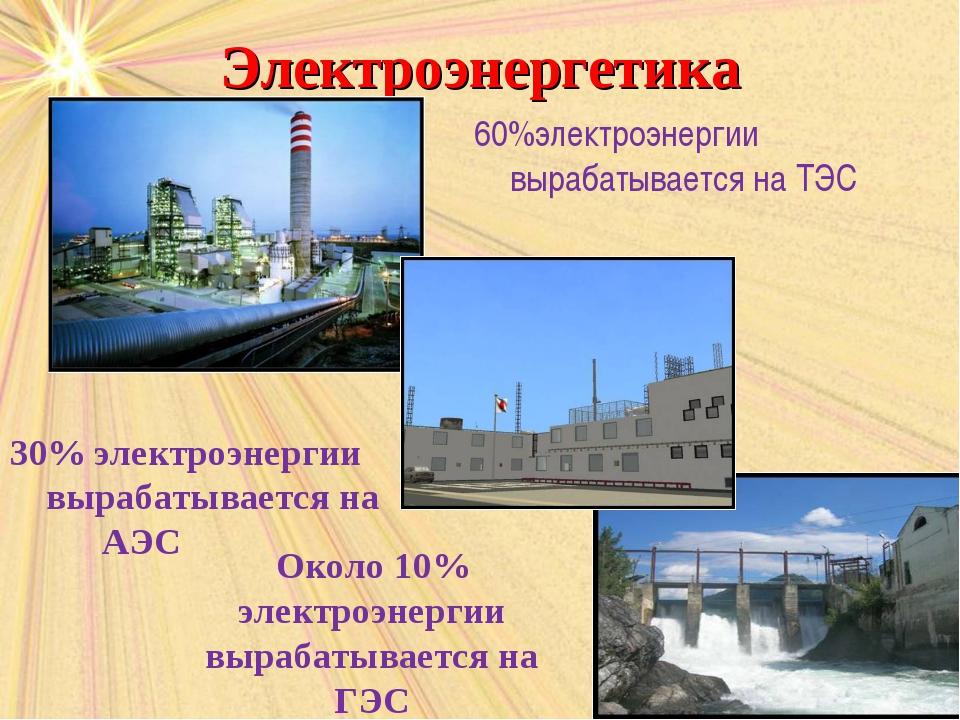 Электроэнергетика 30% электроэнергии вырабатывается на АЭС 60%электроэнергии...