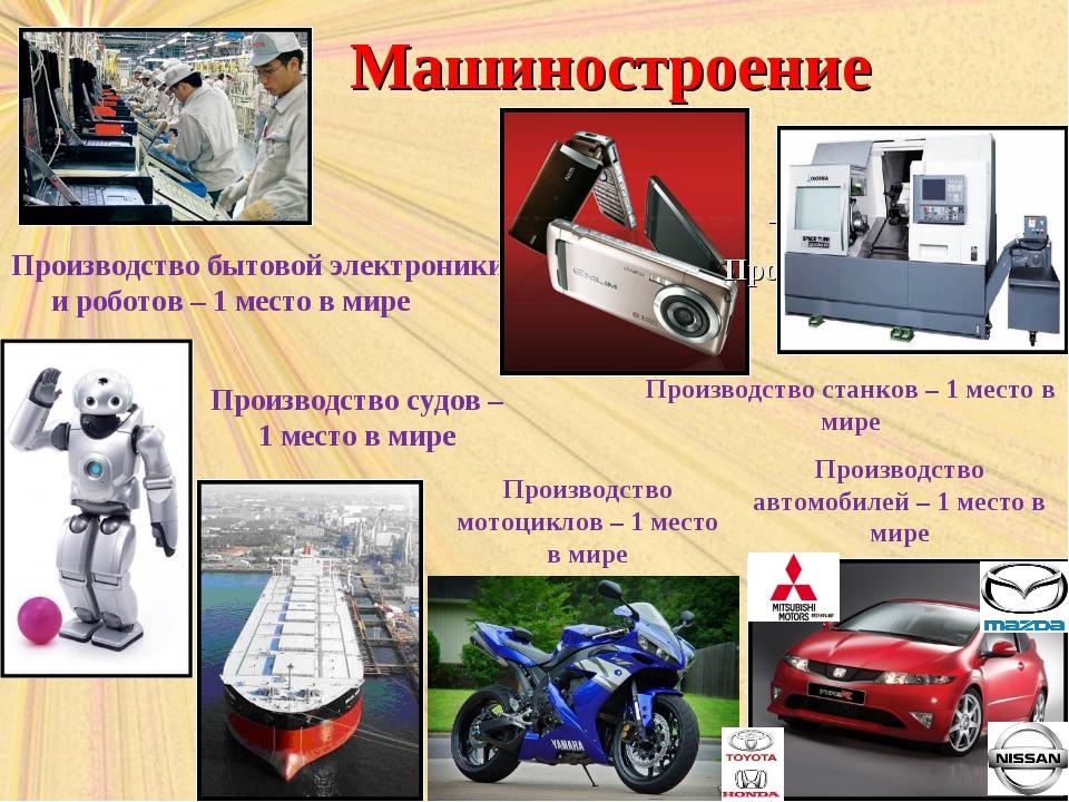 Машиностроение Производство бытовой электроники и роботов – 1 место в мире –...