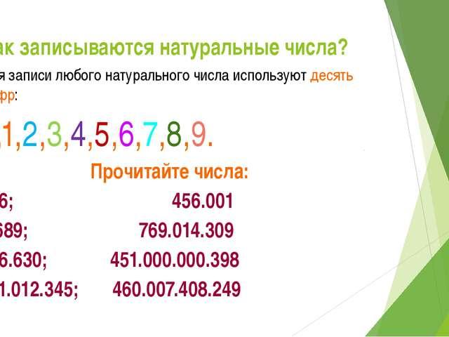 Как записываются натуральные числа? Для записи любого натурального числа исп...