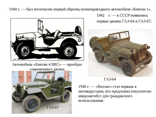 1940 г. — был изготовлен первый образец полноприводного автомобиля «Бэнтам 1»...