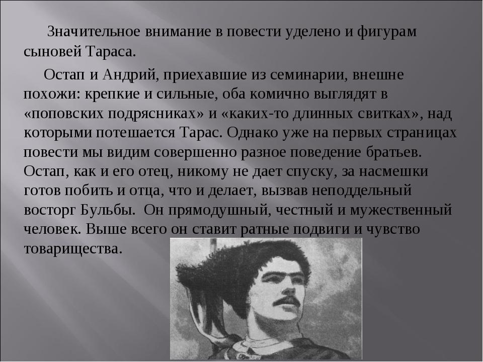 Значительное внимание в повести уделено и фигурам сыновей Тараса. Остап и Ан...
