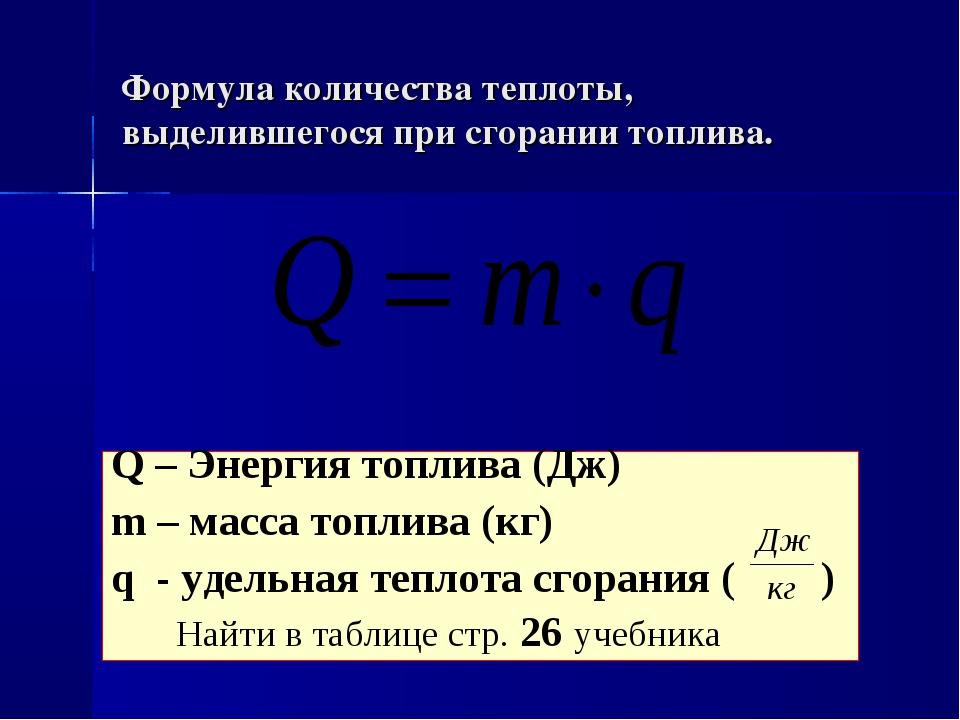 Формула количества теплоты, выделившегося при сгорании топлива. Q – Энергия т...