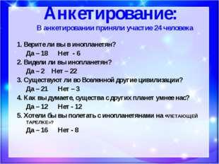 Анкетирование: В анкетировании приняли участие 24 человека 1. Верите ли вы в