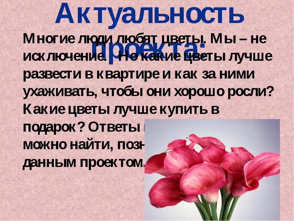 Актуальность проекта: Многие люди любят цветы. Мы – не исключение. Но какие ц...