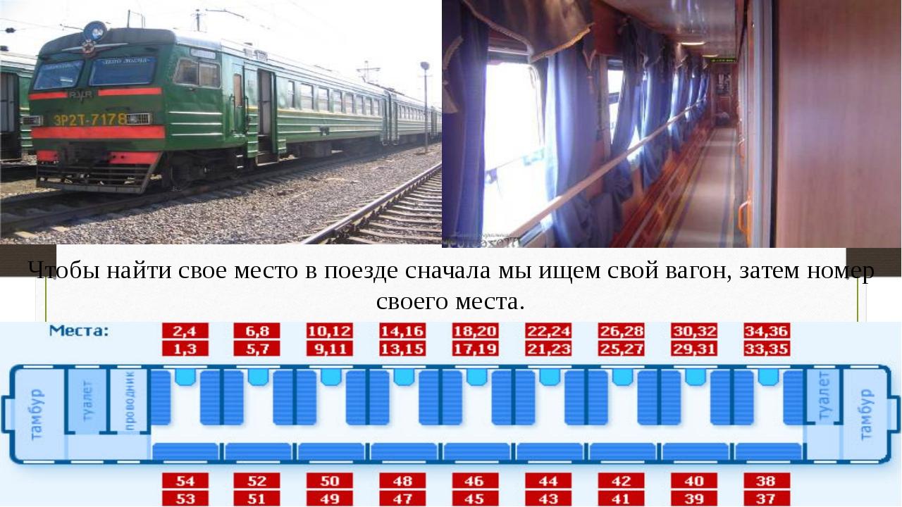 Чтобы найти свое место в поезде сначала мы ищем свой вагон, затем номер своег...