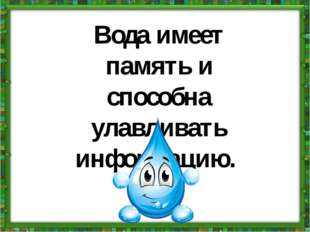 Вода имеет память и способна улавливать информацию.