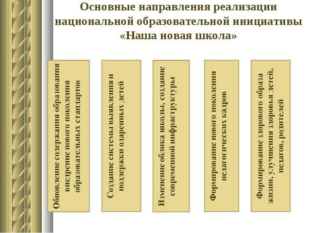 Основные направления реализации национальной образовательной инициативы «Наша...