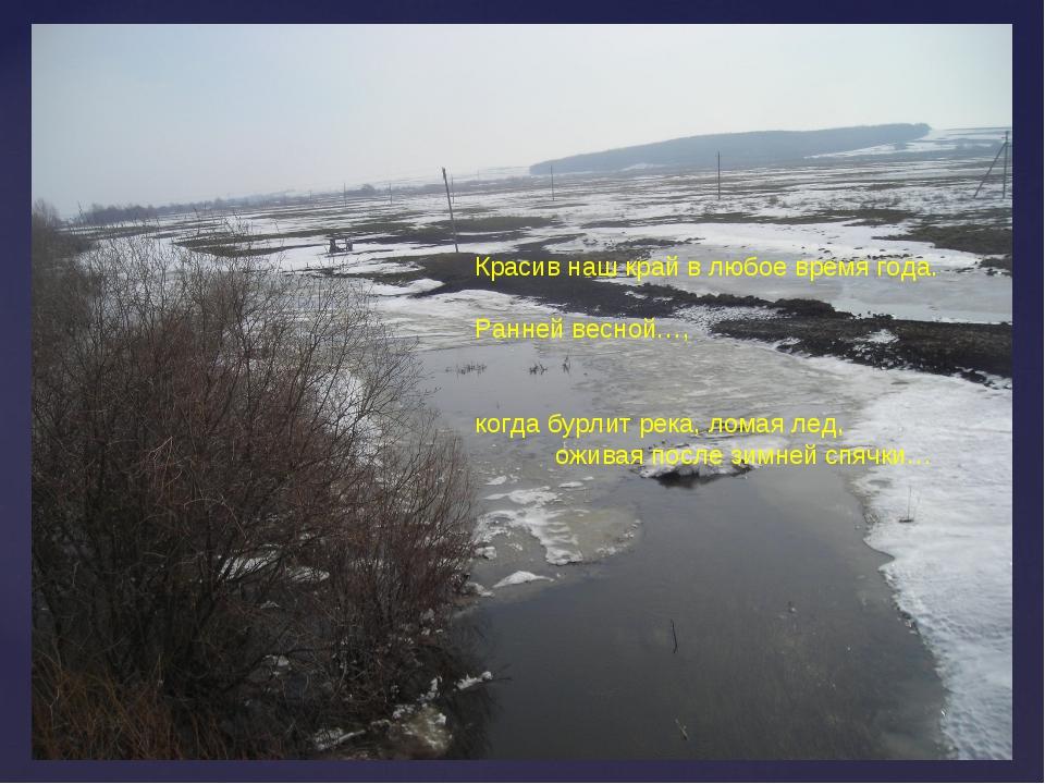 Красив наш край в любое время года. Ранней весной…, когда бурлит река, ломая...