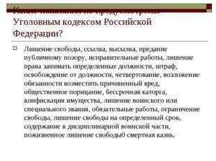 Какие наказания не предусмотрены Уголовным кодексом Российской Федерации? Лиш