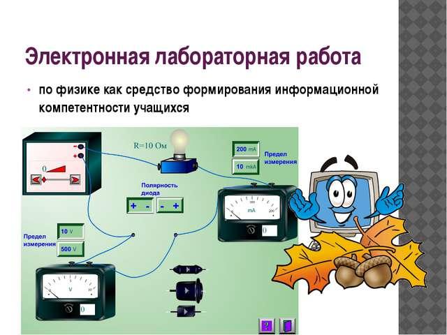 Электронная лабораторная работа по физике как средство формирования информаци...