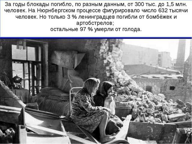 За годы блокады погибло, по разным данным, от 300 тыс. до 1,5 млн. человек. Н...