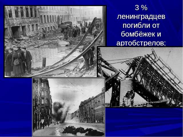3 % ленинградцев погибли от бомбёжек и артобстрелов;