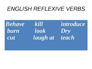 ENGLISH REFLEXIVE VERBS Behave burn cut	 kill look laugh at 	introduce Dry te