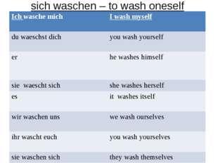 sich waschen – to wash oneself Ich wasche mich I wash myself du waeschst dic