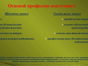 Основой профессии выступают: Школьные знания право; основы безопасности жизне